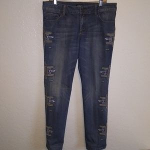 Allen B. Tribal embroidery skinny high waist jeans
